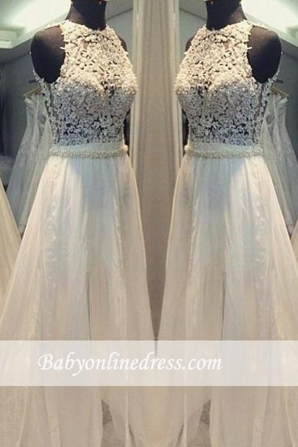Scoop Hollow Sleevess Simple Sweep-train A-line Wedding Dress