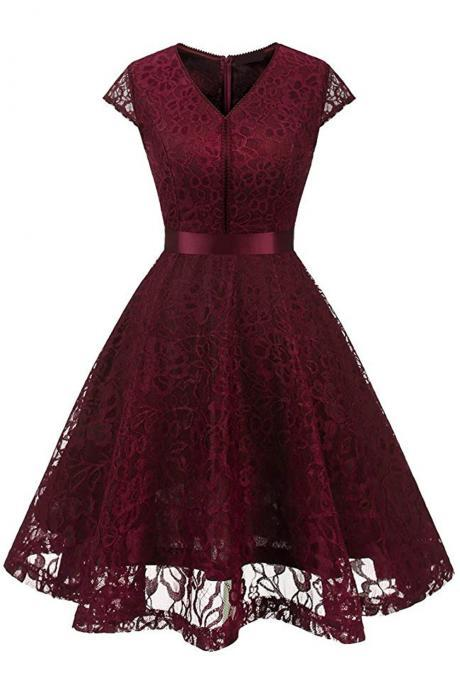 Chicloth Women's Vintage 1950s Short Sleeve A-Line Cocktail Party Swing Dress with Floral Lace